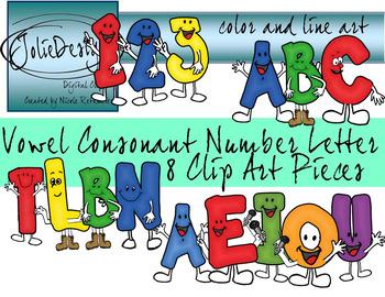 Vowel Consonant Letter Number Clipart Set.