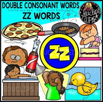 Double Consonant ZZ Words Clip Art Set {Educlips Clipart}.