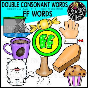 Double Consonant FF Words Clip Art Set {Educlips Clipart}.