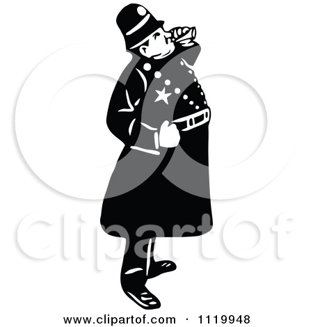 Clipart of a Black and White Vintage Policeman Carrying a Drunkard.