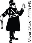 Clipart Of A Retro Vintage Black And White Constable 4.