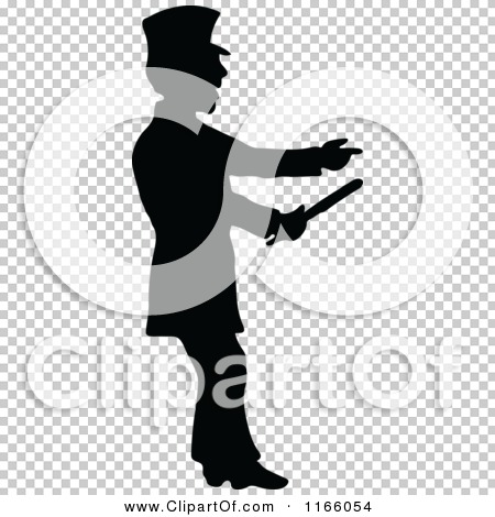 Clipart of a Silhouetted Constable Pointing and Holding a Baton.