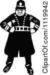 Clipart of a Silhouetted Constable Running with a Baton.