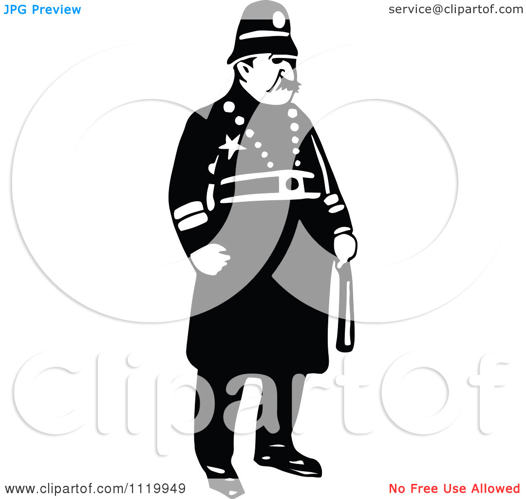 Clipart Of A Retro Vintage Black And White Constable 2.