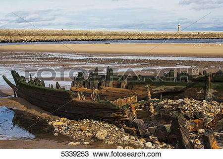 Stock Photo of Shipwreck Constance Ellen; South Shields, Tyne and.
