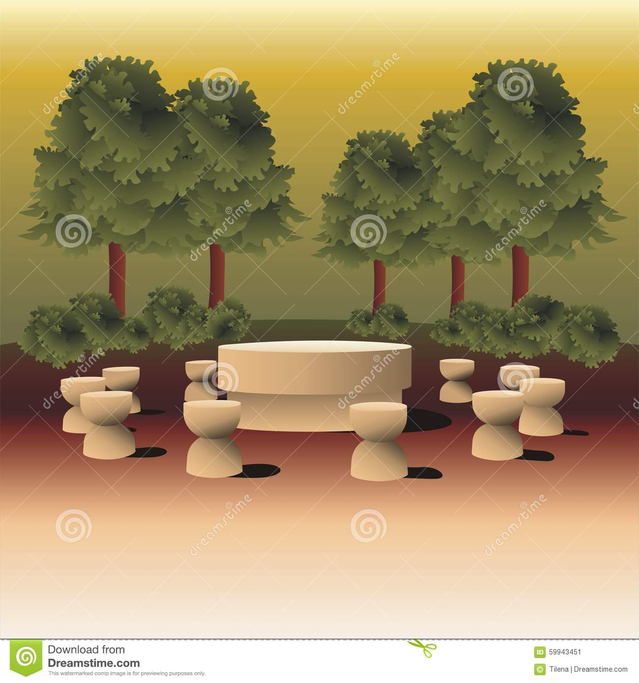 Landscape Illustration Inspired By Table Of Silence Sculpture.