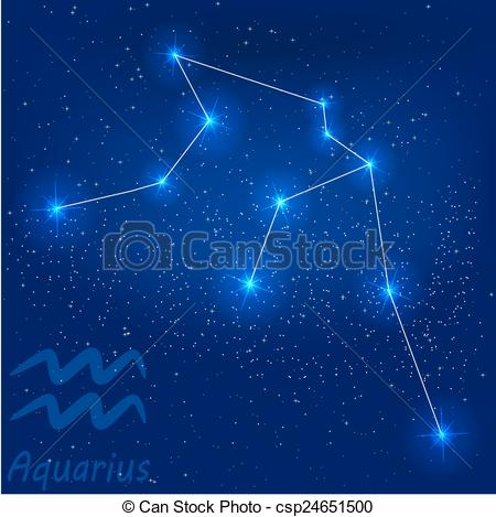 Vector Clipart of constellation aquarius.