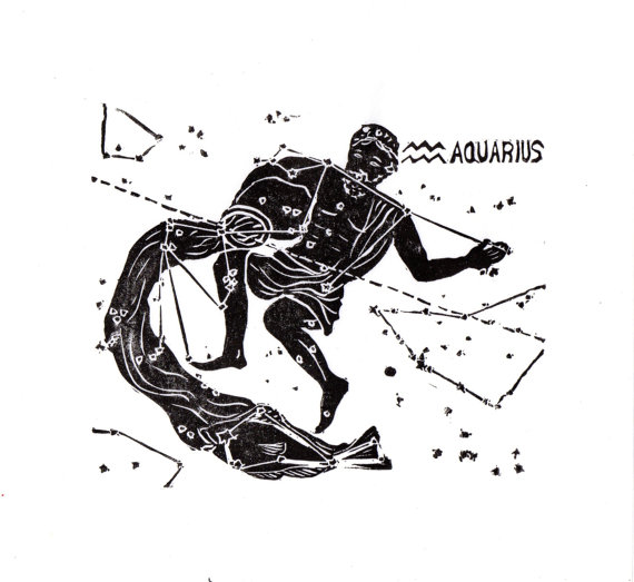 Aquarius Constellation Linocut in Black and White by minouette.
