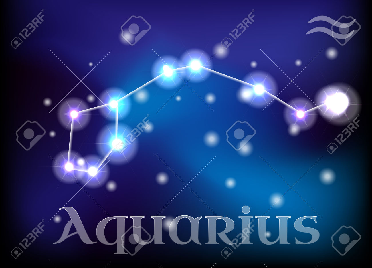 Aquarius Horoscope Or Zodiac Or Constellation Vector Illustration.