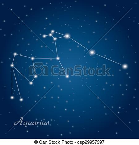EPS Vectors of Aquarius constellation zodiac.