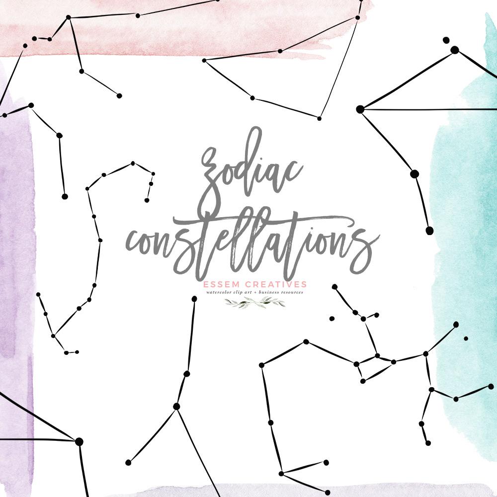 Zodiac Sign Clipart Astrology Constellation Graphics Aries Taurus Gemini  Cancer Leo Virgo Libra Scorpio Sagittarius Capricorn Aquarius Pisces.