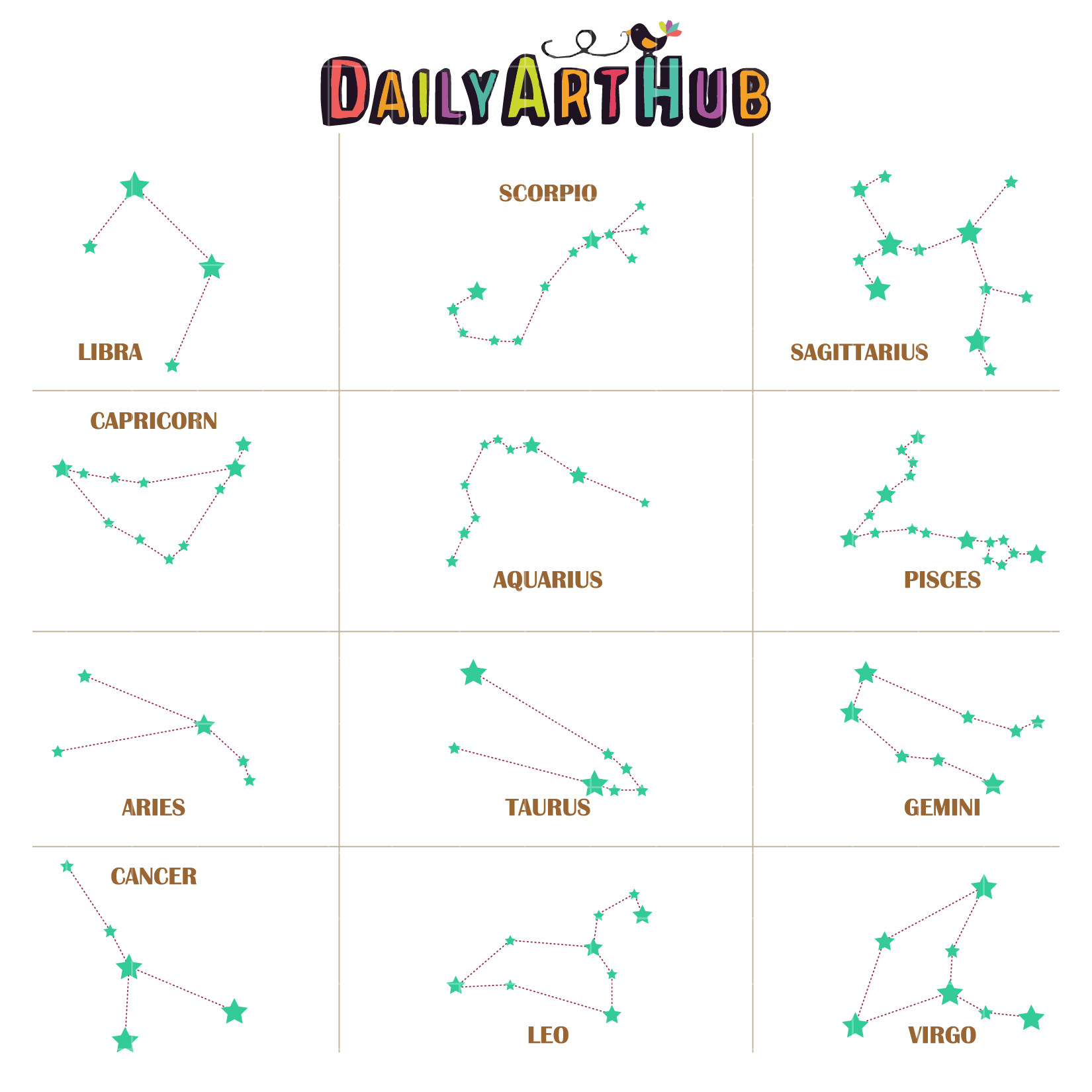 Constellations Stars Clip Art Set.