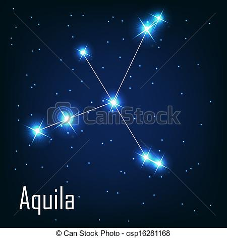 """Clip Art Vector of The constellation """"Aquila"""" star in the night."""