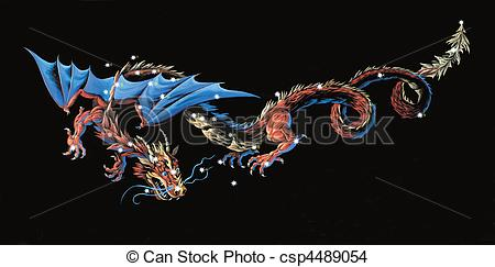 Drawing of Constellation The Dragon (Draco) csp4489054.