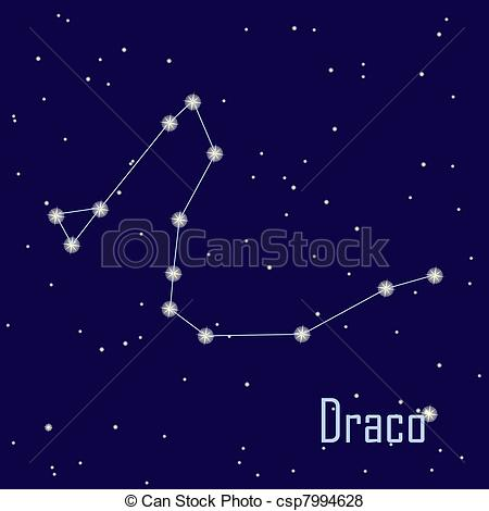 """Vector of The constellation """"Draco"""" star in the night sky. Vector."""