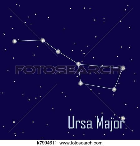 """Clipart of The constellation """" Ursa Major """" star in the night sky."""