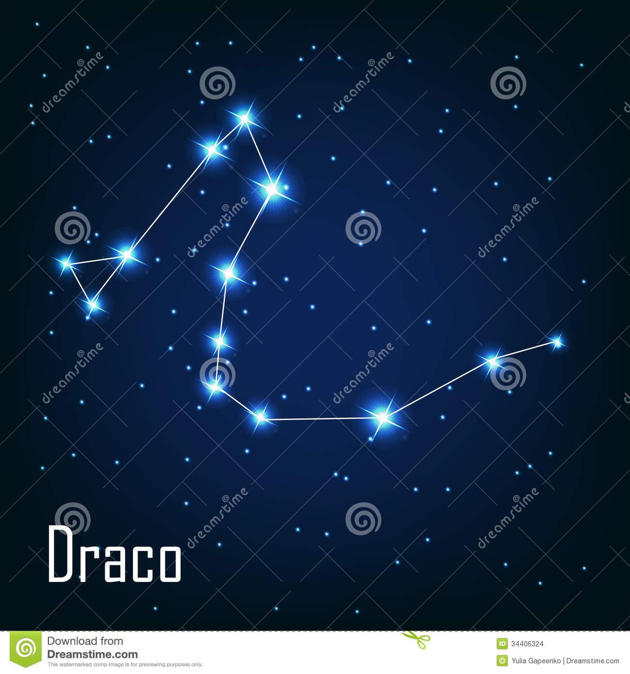 Draco Star Constellation Stock Vector.