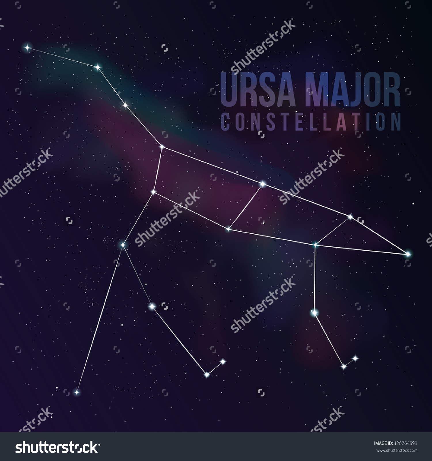 Great Bear Constellation Star Background Big Stock Vector.