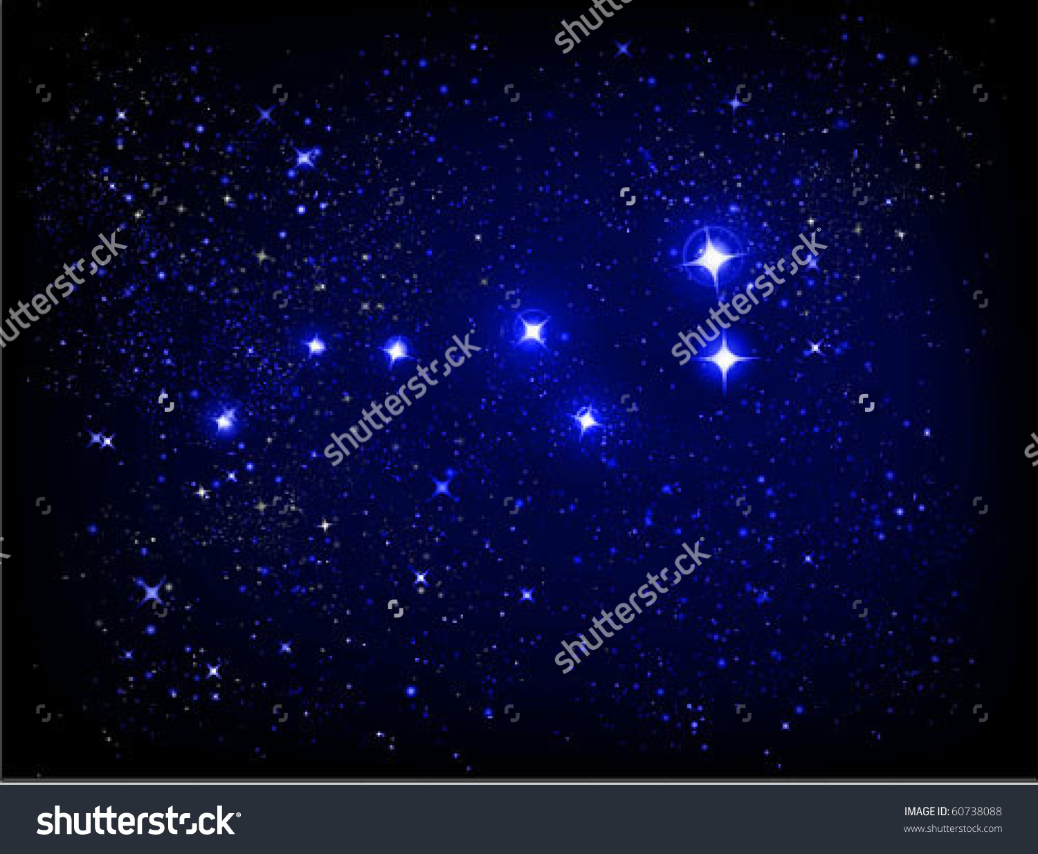 Vector Starry Sky And Ursa Major (Larger Bear) Constellation.