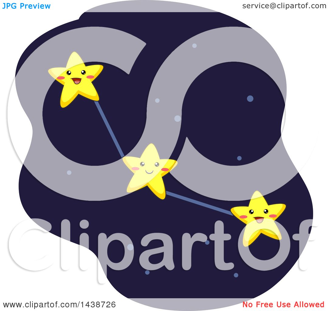 Clipart of a Constellation Formed by Interconnected Stars.