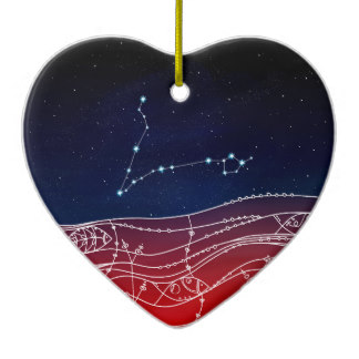 Heart Shaped Constellations Ceramic Decorations.