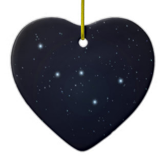 Heart Shaped Constellations Ceramic Ornaments.