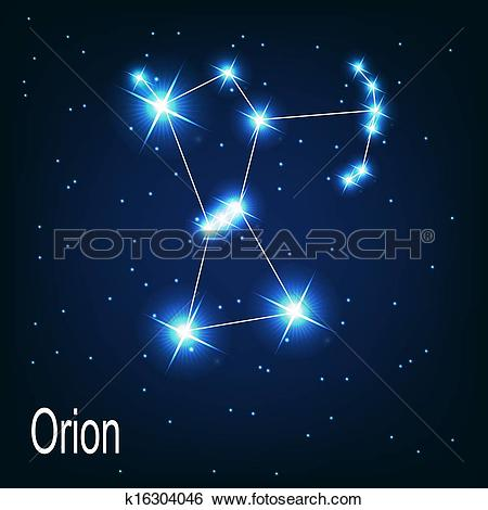 "Clip Art of The constellation ""Orion"" star in the night sky."