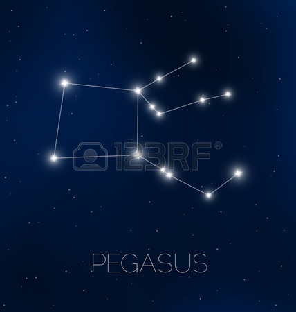 Pegasus Constellation In Night Sky Royalty Free Cliparts, Vectors.