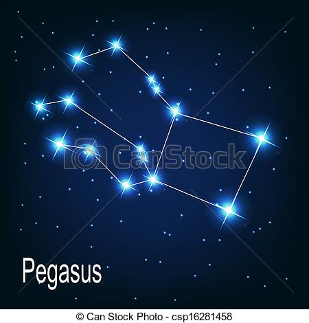 "Clipart Vector of The constellation ""Pegasus"" star in the night."