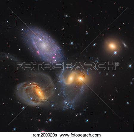 Stock Images of Stephan's Quintet, a grouping of galaxies in the.