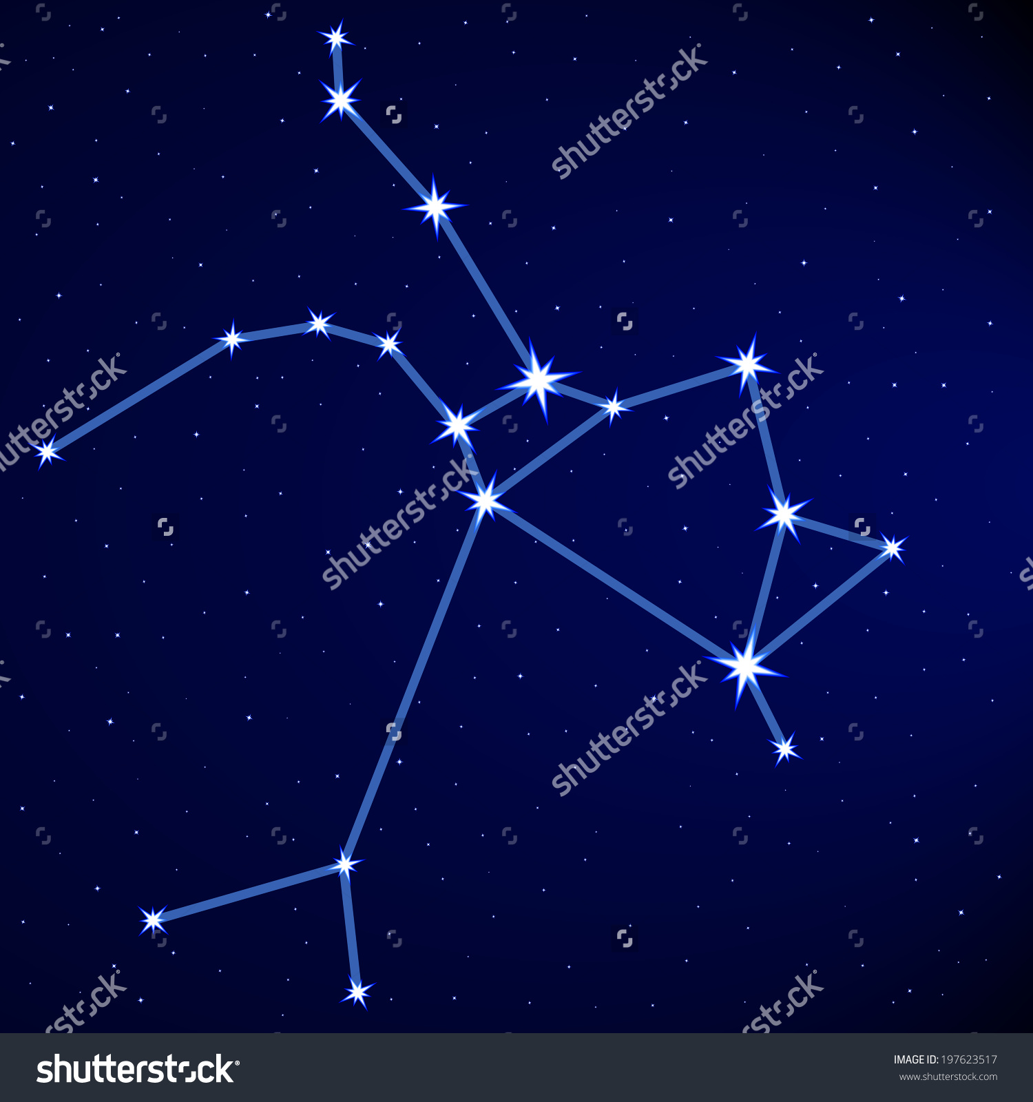 Sagittarius Constellation On Starry Sky Stock Vector 197623517.