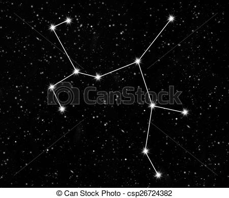 Stock Illustration of constellation Sagittarius against the starry.