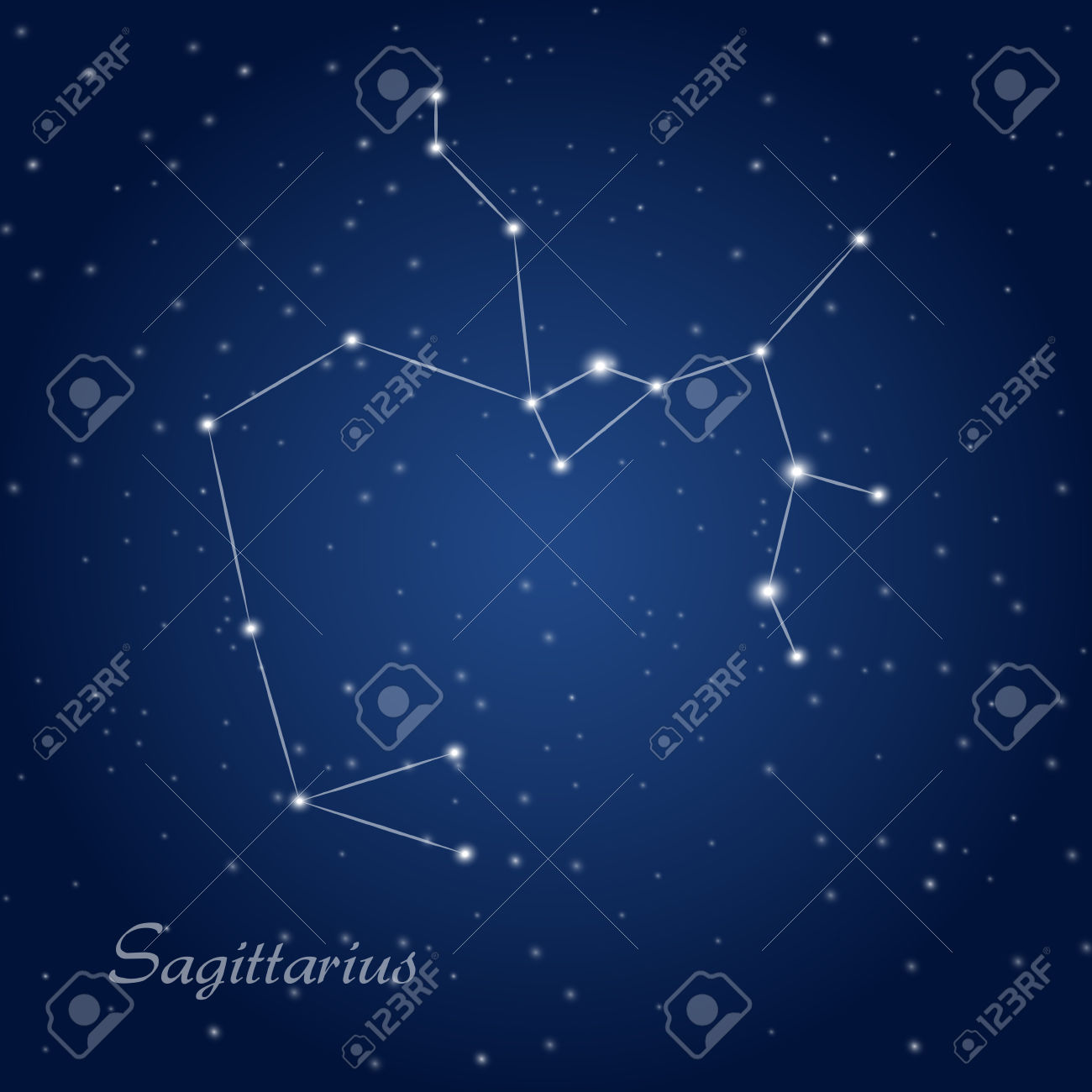 Sagittarius Constellation Zodiac Sign At Starry Night Sky Royalty.