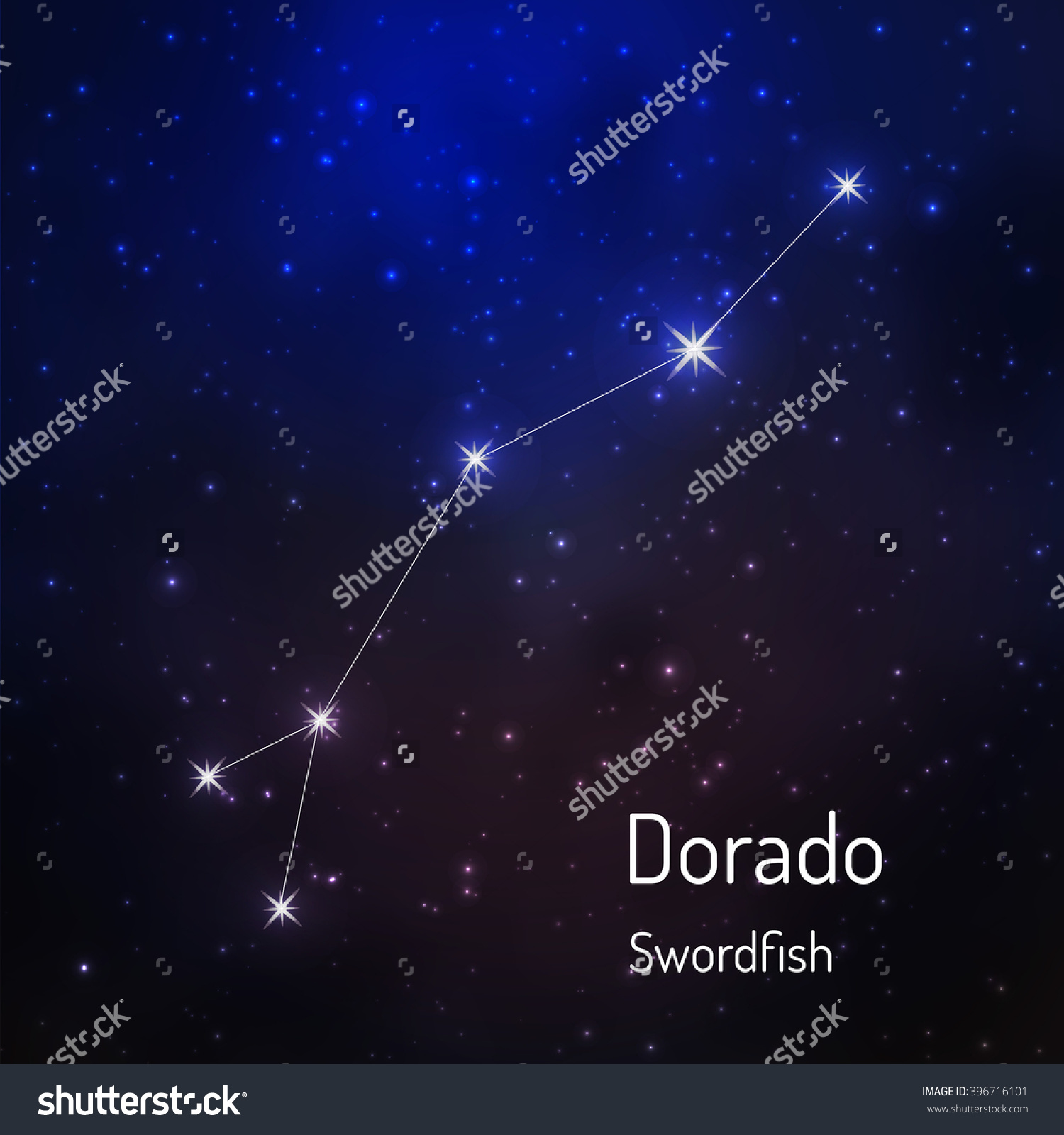 Dorado Swordfish Constellation Night Starry Sky Stock.