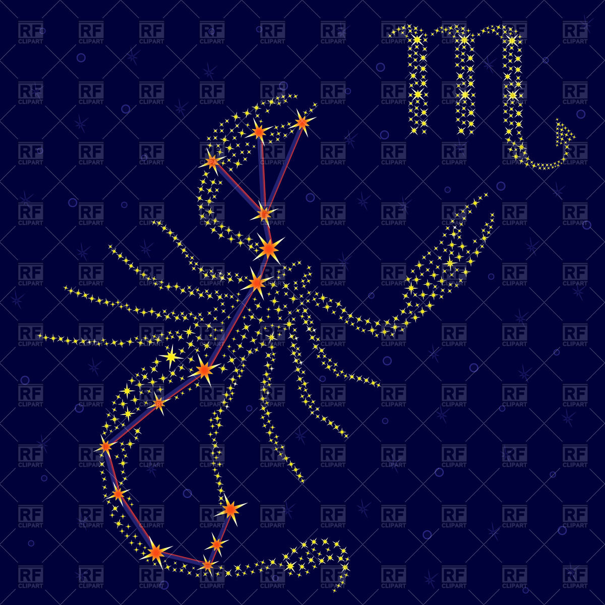 Zodiac sign Scorpio, constellation Vector Image #66761.