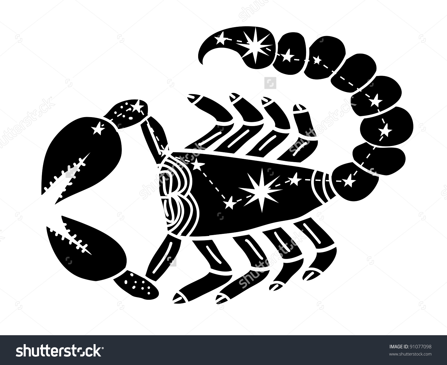Scorpio Constellation Zodiac Black Stock Vector 91077098.