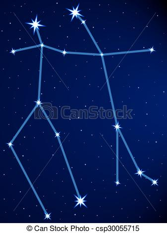 Vector Clip Art of Gemini constellation on the starry sky.