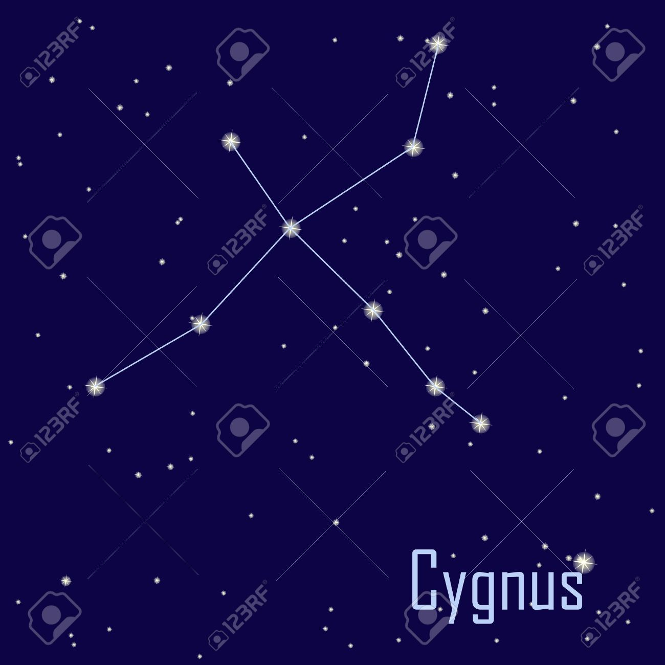 "The Constellation "" Cygnus"" Star In The Night Sky. Vector."