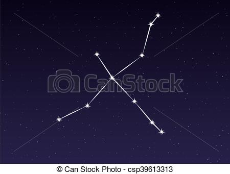 Vector Clip Art of cygnus constellation vector.