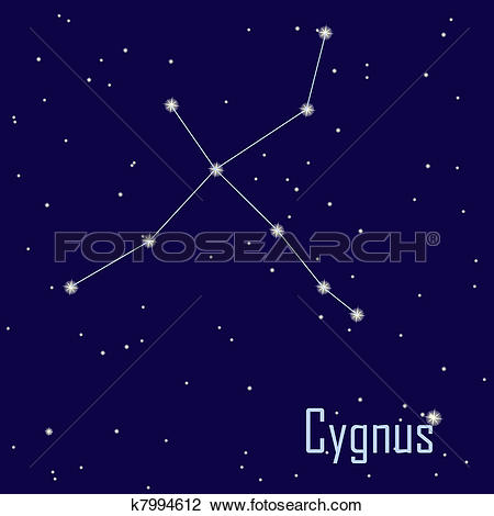 "Clip Art of The constellation "" Cygnus"" star in the night sky."