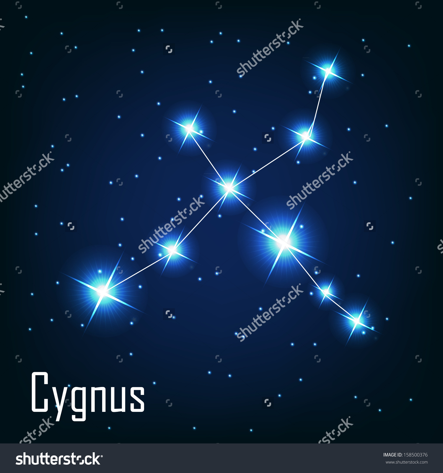 Constellation Cygnus Star Night Sky Vector Stock Vector 158500376.