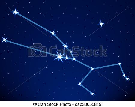 Vector Clip Art of Taurus constellation on the starry sky.