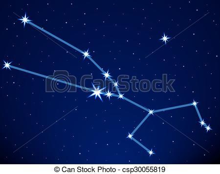 Vector Clip Art of Taurus constellation on the starry sky.