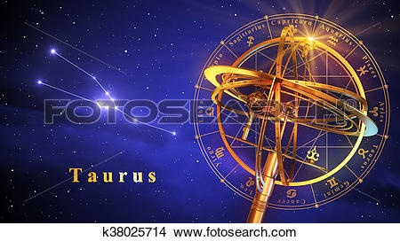Drawings of Armillary Sphere And Constellation Taurus Over Blue.