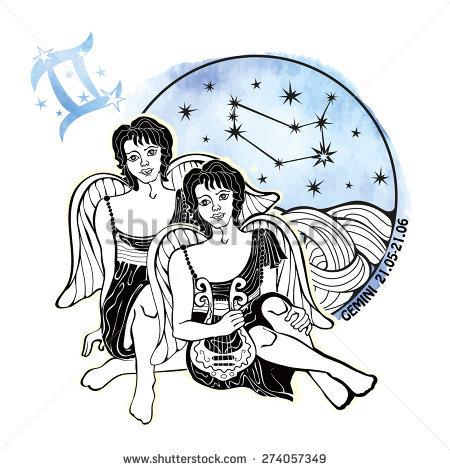Gemini Zodiac Sign Horoscope Boys Twins Stock Vector 213527146.