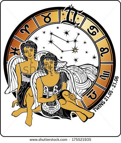 Two Twin Boys Sitting In The Greek .Horoscope Zodiac Signs In.
