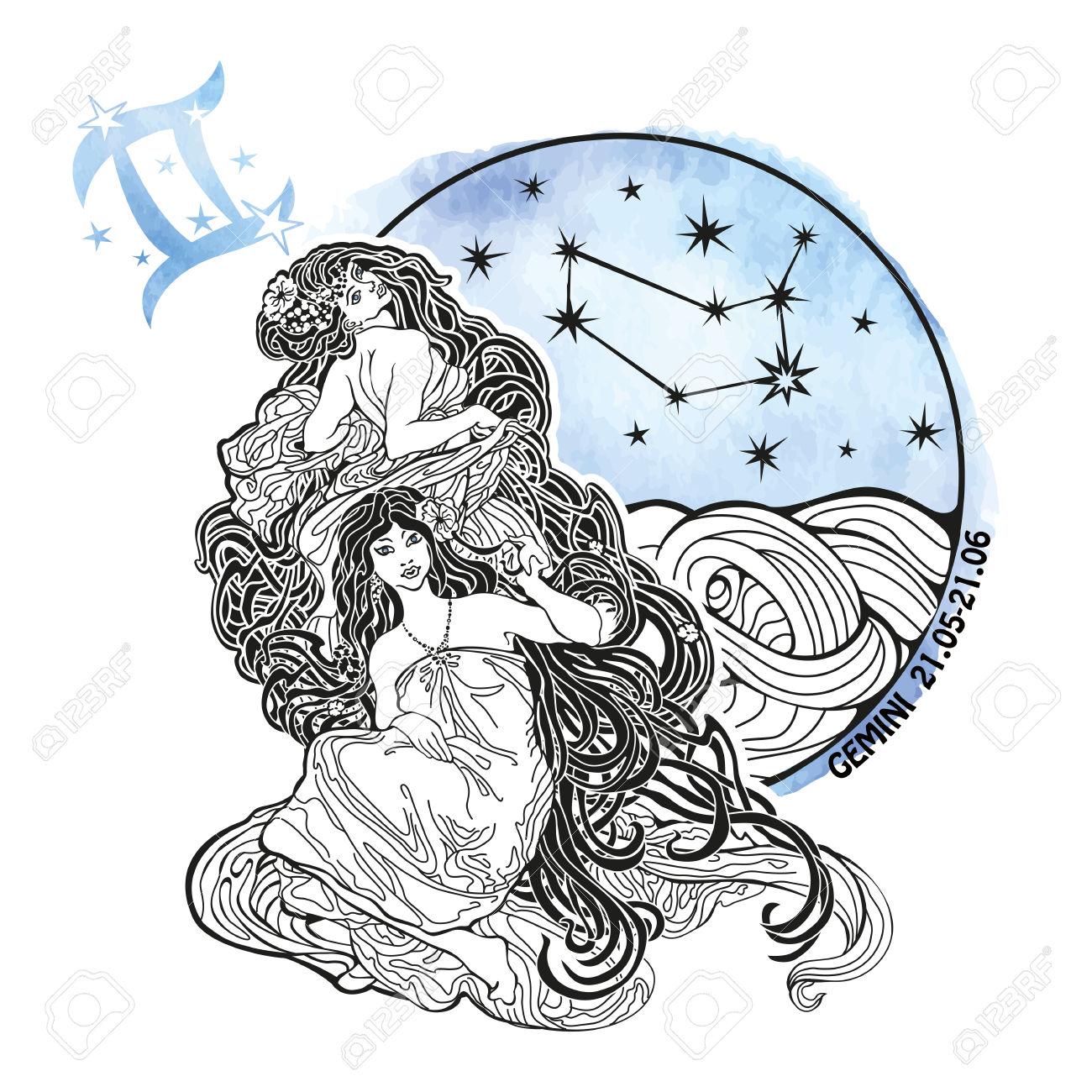 Gemini Zodiac Sign .Horoscope Constellation,stars In Circle.
