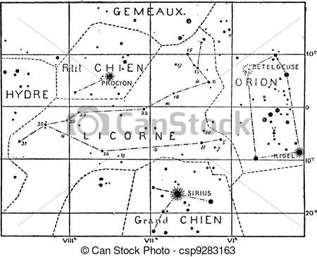 Vectors of Monoceros or Unicorn Constellation, vintage engraving.