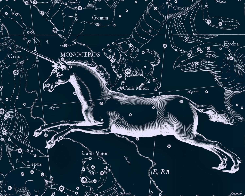Items similar to Unicorn Constellation Print Monoceros Canis Minor.