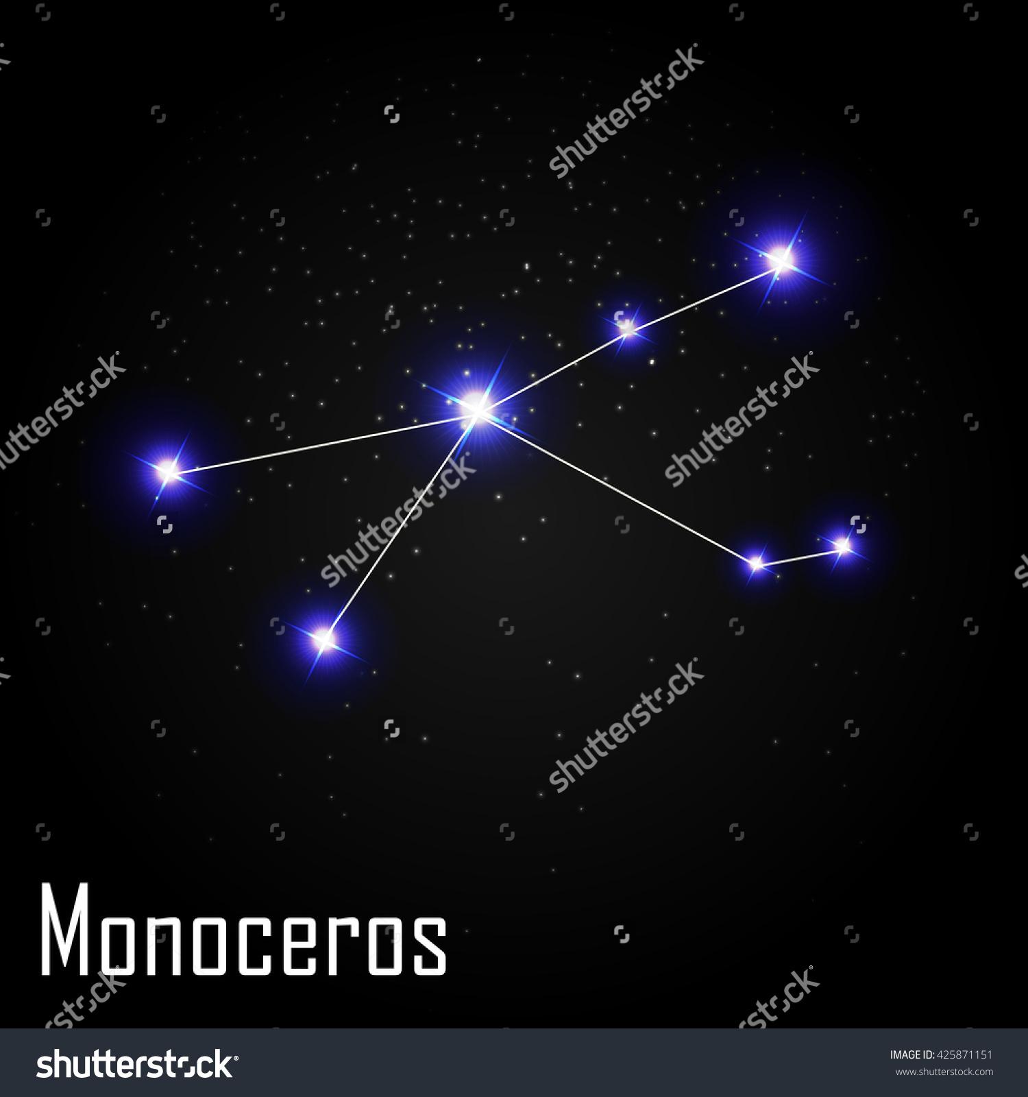 Monoceros Constellation Beautiful Bright Stars On Stock Vector.